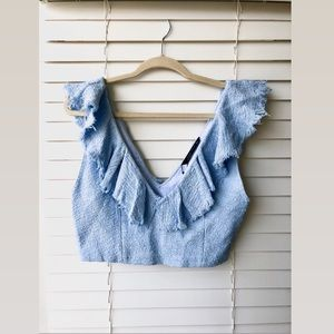 NWT Zara Baby Blue Tweed Crop Top Size M